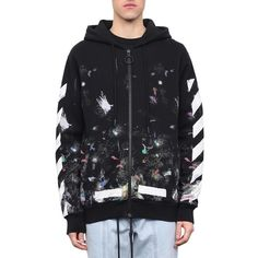 Off White Galaxy Brushed cotton hoodie ($644) ❤ liked on Polyvore featuring tops, hoodies, black, galaxy hoodies, galaxy print hoodie, hooded pullover, hooded sweatshirt and long sleeve hooded sweatshirt