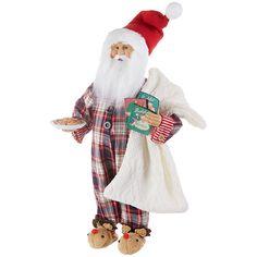 Raz Santa with Cookies In Pajamas Christmas Figure 3915501 Christmas Ribbon, Christmas Cookies, Ribbon Candy, Fluffy Blankets, Old World Christmas, Christmas Christmas, Plaid Pajamas, Twas The Night, Christmas Pajamas