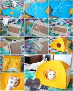 How To Make A Cat Tent From An Old T Shirt craft crafts craft ideas diy ideas diy crafts crafty recycle repurpose pet crafts