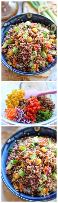 Asian Quinoa Salad - A quick and easy healthy quinoa salad dressed in sweet and tangy Asian flavors, loaded with tons of veggies!