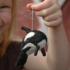 orca whale felted ornament