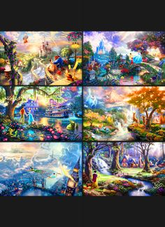 Thomas Kinkade Paintings of Disney places. This is missing the Little Mermaid painting. In each of these paintings are hidden Disney characters from other movies and reference other paintings in this series