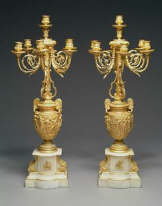 A Fine Pair of Late 19th Century French Ormolu and White Marble Candelabras | eBay