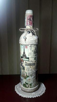 Mari's decoupage bottle,2017