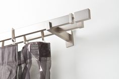 Curtain double rod: 1.2x0.5 inch rectangular, lenght 85.8 inch, satin steel finish – complete
