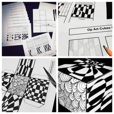 Op Art Cubes Lesson by Kickstart My Art Programme D'art, Op Art Lessons, Intro To Art, Classe D'art, Art Cube, 7th Grade Art, Middle School Art Projects, Booklet Design, Art Curriculum
