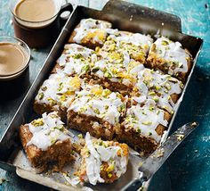 This simple traybake is inspired by one of our favourite brews - chai. Spiced with cinnamon, nutmeg and cardamom, this moist coconut sponge is the perfect accompaniment to a cuppa