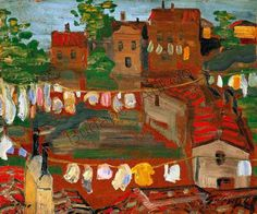 Ruhaszáritás olaszföldön (Drying clothes in Italy) by Lajos Gulácsy Italy, Landscape, Painting, Clothes, Hungary, Laundry, Artists, Red, Landscapes