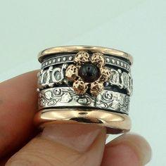 WOMEN ISRAELI 9k Rose Gold & 925 Sterling Silver Garnet by jewela