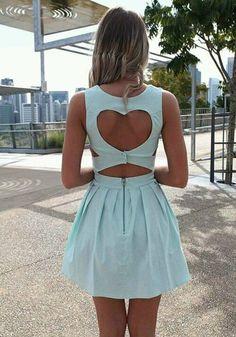 Light Blue Plain Heart Cut Out Pleated Dress
