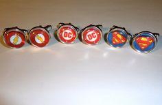 DC Comics Cufflinks  The Flash Superman Wedding Gift Grom Bestman by CoffinRockShop on Etsy, $15.00