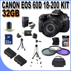 Canon EOS 60D 18 MP CMOS Digital SLR Camera with 3.0-Inch LCD and EF-S 18-200mmf/3.5-5.6 IS Standard Zoom Lens w/32GB SDHC Memory + 2 Extra Extended Life Batteries+ Ac/DC Charger + 3 Piece Filter Kit + Full Size Tripod + SDHC Memory Card Reader + Memory Card Wallet + Shock Proof Deluxe Case w/Strap + Mini Tripod + Accessory Saver Bundle! . by BVI. $1349.00. This Kit Includes! 1-Canon EOS 60D 18 MP CMOS Digital SLR Camera with 3.0-Inch LCD and EF-S 18-200mmf/3.5-5.6 IS Standard Zo...