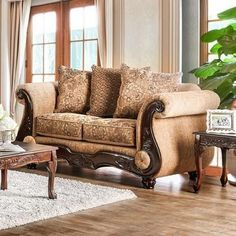 "Nicanor Collection SM6407-LV 73"" Love Seat with Chenille Fabric Loose Back Pillows Rolled Arms and Bun Feet in Tan and Gold"