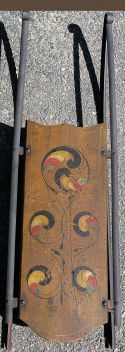 John Wahl, Richmond, New Hampshire~1890's Decorated Child's Sled With Old Crusty Painted Surface