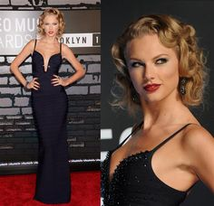 Taylor Swift. The former princess-dress enthusiast tries sultry on for size in a figure-hugging Herve Leger gown with a sequin-trimmed, sternum-framing bodice. Pinned-up curls, kohl-rimmed eyes and her signature red lips complete Swifty's retro-glam look.
