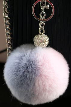 Faux Fur Pom Pom, Bag Charm, Key Chain and Purse Accessories, Rose Quartz and Serenity (Pantone Colors of the Year) Two Tone