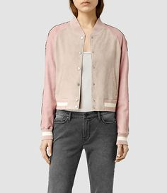 Womens Lanley Leather Bomber Jacket (Dusty Pink) - product_image_alt_text_2