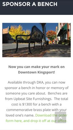 Sponsor a Bench for downtown ideas