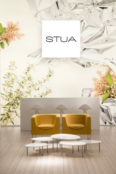 Rarely STUA has proposed yellow furniture, these are the Nube armchairs in Milano.