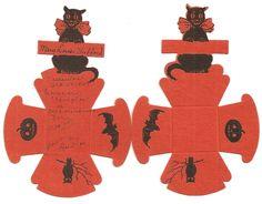 Pair of Die Cut Halloween Nut Cups Black Orange Cat Bat JOL Owl One Unused | eBay