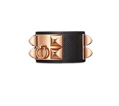 "Collier de Chien Hermes iconic leather bracelet (size S) Epsom calfskin Rose gold plated hardware, 2.25"" diameter, up to 6.7"" circumference"