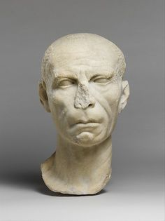 Marble portrait of a man Period: Late Republican or Early Augustan Date: late 1st century B.C. Culture: Roman Medium: Marble Dimensions: 12 3/8 x 7 3/4 x 7 3/4 in. (31.5 x 19.7 x 19.7 cm) Classification: Stone Sculpture Credit Line: Rogers Fund, 1921 Accession Number: 21.88.14