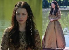 In the fifth episode's Harvest festival scenes Mary wears this gorgeous gown with embroidered and beaded bodice. This costume was built by the show's wardrobe department. Worn with Lulu Frost earrings, Gillian Steinhardt labyrinth and signet rings. Mary Stuart, Narnia, Reign Season 1, Adelaine Kane, Reign Tv Show, Reign Dresses, Formal Dresses, Reign Mary, Reign Fashion