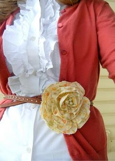 Flower pin + belt over cardigan