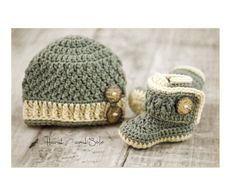 Learn how to make this Baby Boy Hat and Booties Set with this Crochet Pattern. What a wonderful gift to make to help celebrate baby boy! Available in 4 sizes to fit Newborns - 12 mos. Step by Step instructions accompanied with many pics and video tutorials help make your creative process a seamless one. Come see the more pattern info and pics at Hand Heart and Sole on Etsy. Happy Crocheting!