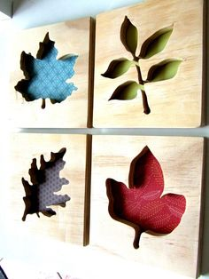 liking the scrapbook paper behind scroll saw wood designs This would look awesome in your living room with fall colors!