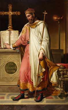 Chintila // 1855 //  Bernardino Montañés y Pérez // Chintila, who died in 639, was a Visigothic king belonging to the Catholic kingdom of Toledo (636-639).He places his hand on the book of the Sixth Council of Toledo, convoked by this monarch on January 6, 638. The inscription of the fund alludes to the Toledo basilica of Santa Leocadia, where the Fifth Council of Toledo (636) was also held for him.