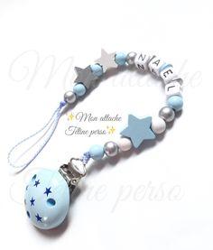 Attache t tine personnalis e perles en bois mod le petit escargot gris th o - Porte tetine personnalisee ...