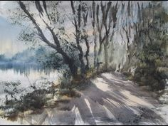 Watercolour painting demo from a reference photograph of Bracebridge Pool - YouTube