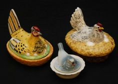 3 OLD STAFFORDSHIRE POTTERY HEN & DUCK NESTS