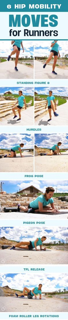 workout routine running 6 Hip Mobility Moves for Runners - loosen tight hips, improve range of motion and reduce injures Running Injuries, Running Workouts, Running Tips, Fun Workouts, Workout Ideas, Triathlon Training, Half Marathon Training, Running Training, Marathon Running