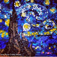 quilled starry night - paper rolled quills