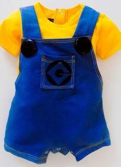 Moda Infantil - Roupas divertidas para crianças - Macacão Minions #modainfantil #roupadecriança #roupasdivertidas #modabebe #fantasia #festainfantil #aniversario #minions