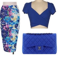 Blue Crop Top New Blue cap sleeve crop top.  (Listing is for top only, skirt available for purchase in separate listing)  Material:  95% Polyester  5% Spandex Tops Crop Tops