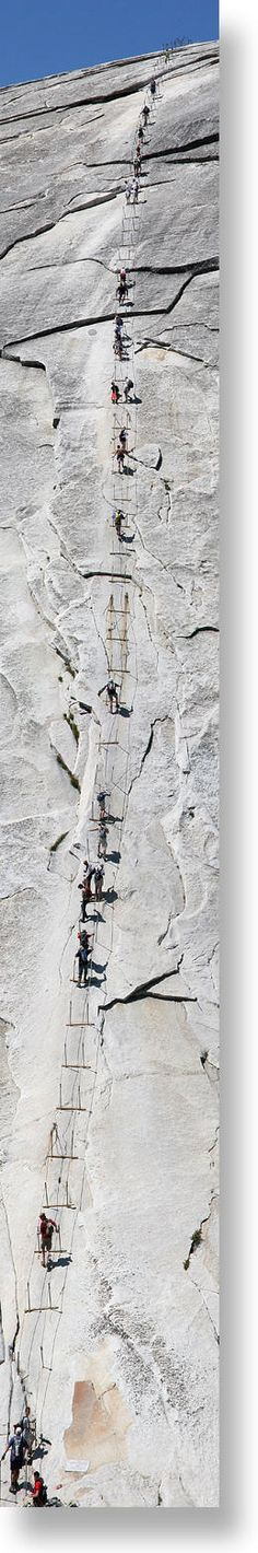 Cable hike at Yosemite...i'm not sure about this - that's a lot of trust in the person in front of you to not fall!! #JetsetterCurator