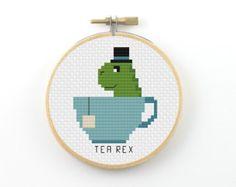Tea Rex cross stitch pdf pattern