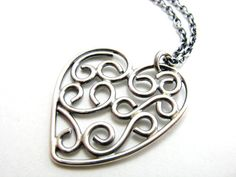 Sterling Silver Filigree Heart Pendant Necklace by BooBeads