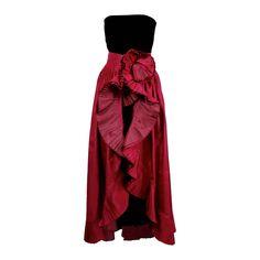 1980s Nina Ricci Velvet Strapless Jumpsuit with Silk Taffeta Overskirt