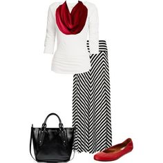 Striped black/white maxi skirt, red flats/scarf, and black purse