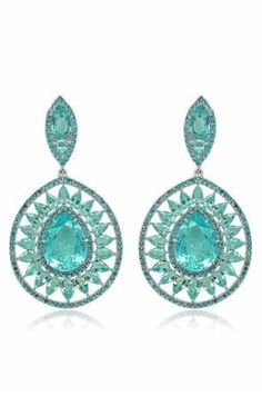 Sutra Jewels - PARAIBA BURST DROP EARRINGS | Multi-layered drop earrings feature four pear-shape sections including a pear-shape paraiba centre stone, an inner and outer row of round accents, and a bursting frame of pear-shape paraiba, with 33.0 cts. t.w. | JCK Marketplace