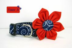Swirl Navy and White Dog Collar with flower set ((Mini,X-Small,Small,Medium ,Large or X-Large Size)-  Adjustable
