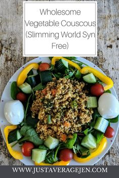 Syn Free tasty Slimming World vegetable Couscous which is vegetarian, vegan and perfect hot or cold. This is great for Slimming World lunches! Slimming World Salads, Slimming World Recipes, Veggie Food, Veggie Recipes, Syn Free Food, Vegetable Couscous, Couscous Recipes, Evening Meals, Side Salad