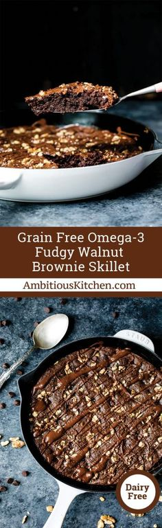 AMAZING skillet brownies made without grains, gluten or dairy. Bonus: They pack plenty of good for you omega 3s thanks to walnut butter & chia seeds.