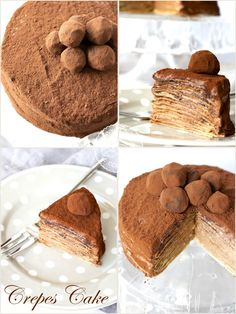 A layer cake of crepes, stuffed with honey ganache and decorated with chocolate tartufini. Yum!