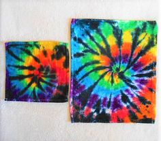 Tie Dye Washcloth and hand towel, or dishrag and kitchen towel// rainbow with black// HIppy// Trippy// Colorful and fun small gift item! by FarmFreshTieDyeStore on Etsy