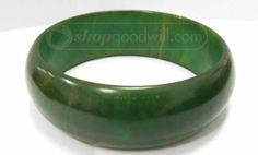 Vintage Chunky Marbled Green Bakelite Bracelet